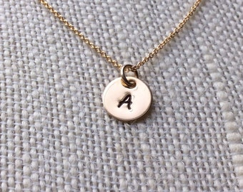 Gold Filled necklace with hand stamped initial pendant - Personalized