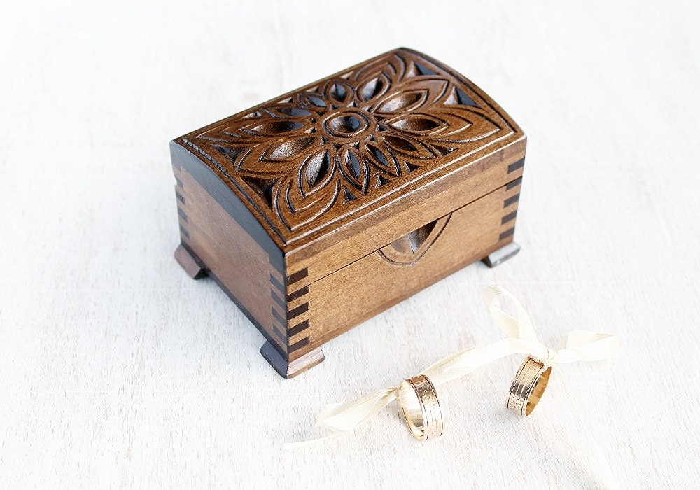 Custom wedding box ring bearer box wood by littlewoodcottage for Wooden ring box