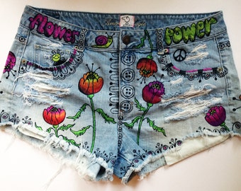 "High waisted denim ""Flower Power"" shorts (poppy) exclusively by artfink. One-of-a-kind wearable work of art!"