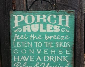 Porch Rules, porch sign, porch decor, patio decor, outdoor living, deck sign, yard decor, 85/80