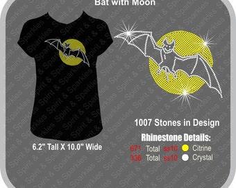 Bat with Moon Rhinestone T-Shirt, Tank or Hoodie