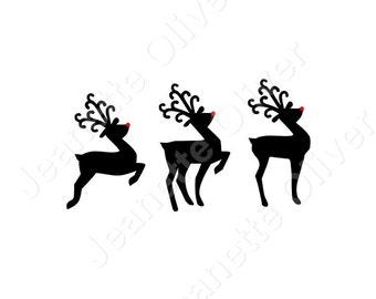 Set of 3 Reindeer SVG Digital Cutting File