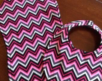 Chevron 2 piece Baby bib and Burp cloth set in pink, white, grey and black!