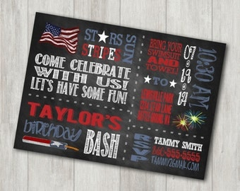 Patriotic Birthday Invitation - Chalkboard Fourth of July Birthday Invitation - Red White and Blue Invitation Digital