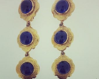 Rare Chanel Earrings Vintage Couture Statement Clip-on Sapphire Blue Earrings