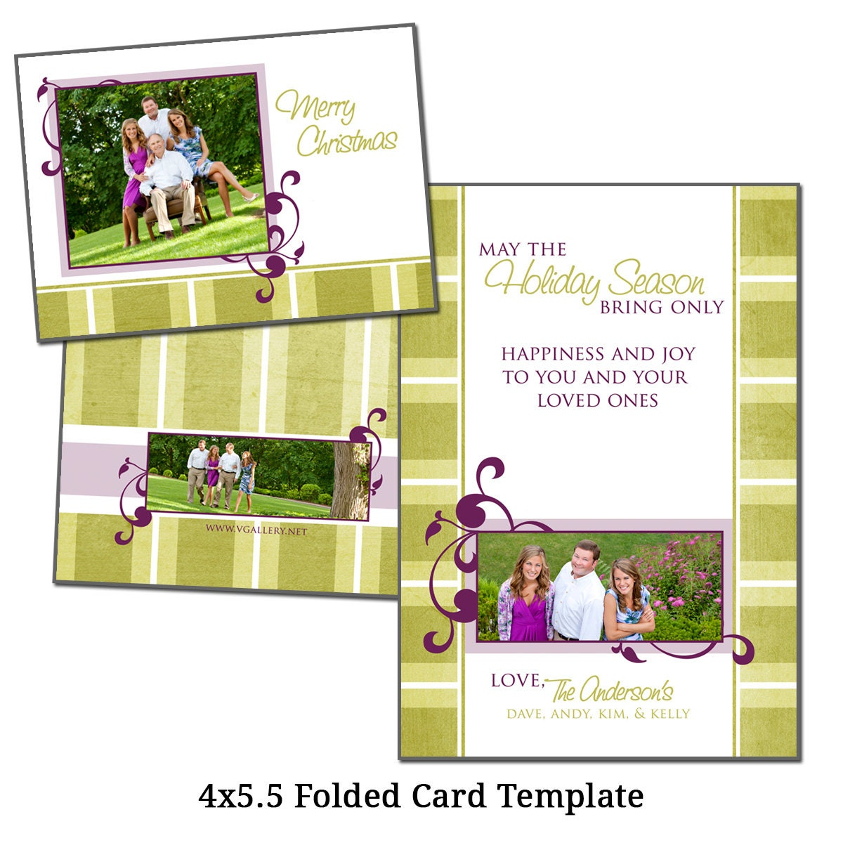 4X5.5 Folded Christmas Card Template Holiday By