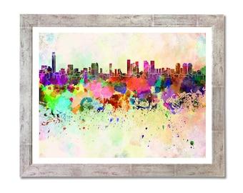 Tel Aviv skyline in watercolor background- SKU 0086