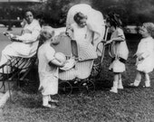 1920s Children Playing with Vintage Baby Carriages in a Park 8x10 B&W Photo Art Victorian