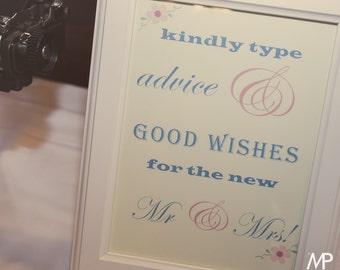 Typewriter Wedding Sign