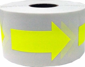 "Fluorescent Yellow Neon Arrow Stickers - Die Cut 2"" Inch in Length 