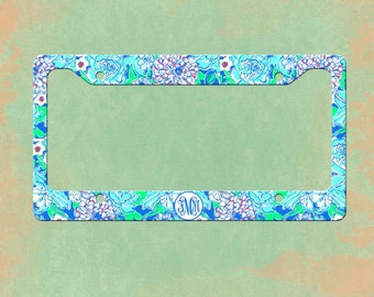 lilly pulitzer license plate frame lilly pulitzer inspired personalized monogrammed license plate car tag - Monogram License Plate Frame