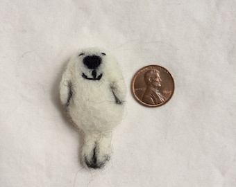 Tiny Miniature Felted Seal Pup Ornament