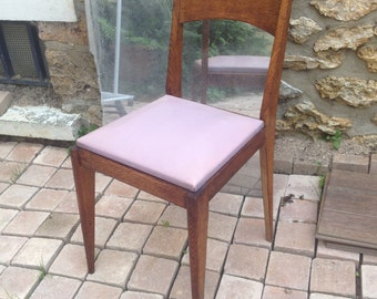 Chair purple imitation leather Vintage from the fifties - France