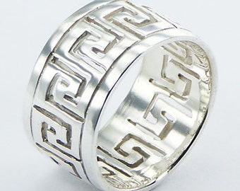 Sterling Silver Band with Greek Key Design