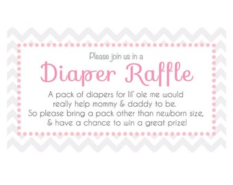 Customizable! Baby Shower Diaper Raffle Ticket for Invitiations! Printable! Pick Different Colors or Custom Wording!