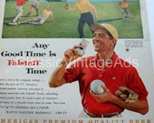 Vintage Beer Ad, 1960, Falstaff Beer, Baseball Game, Alcohol, Premium Quality Beer, ABC - TV