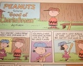 Charlie Brown Baseball, Peanuts Comic Strip, Retro Cartoon of the 1960's, Color Print, Charles M Schulz, Frame as you like, Wall Decor