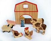 WALDORF Toy, WOODEN FARM Set with House, Farmer and Animals / Handmade wooden toys Waldorf Inspired