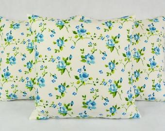Prestigious Rosebud Ink Cushion Cover 43cm x 43cm Blue, Cream, Green