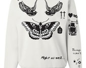 Tattoo Crewneck Sweatshirt Harry Styles Tattoos One Direction