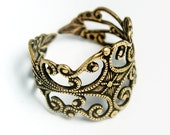 Sturdy Filigree Ring Blank, Adjustable Ring Blank with Vintage Gold Finish, Made in USA, #TB111