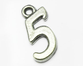 Pewter Five '5', Charm, All numbers available 0-9, 10x15mm, Made in USA, #Q111