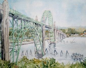 Yaquina Bay Bridge Newport Oregon watercolor painting 9 3/4 x 12 3/4 inches Bridge Painting - Ocean Painting - Oregon Coast
