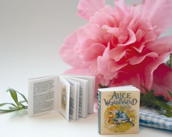 Miniature Alice in Wonderland Book (double sided printed pages, with illustrations)