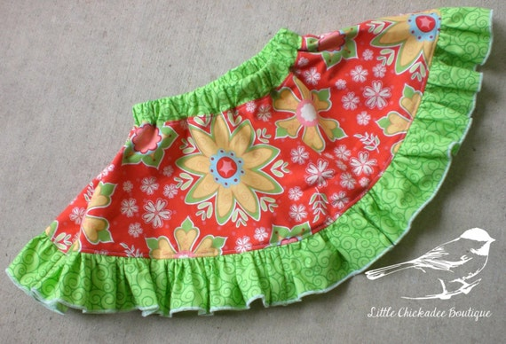 12- 18 Month Baby Circle Skirt  Baby Skirt  Twirly Skirt  Circle Skirt  Ruffled Skirt  Red Skirt  Everyday skirt