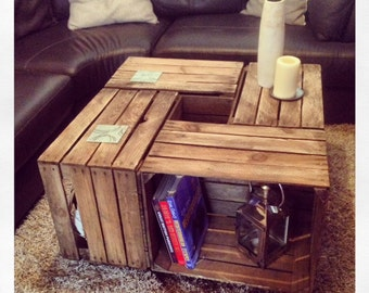 1 x Vintage Wooden Crate Coffee Table - a rustic look with lots of storage