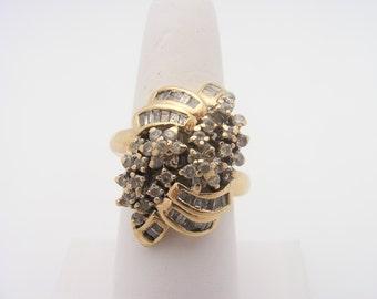 1.50 Carat Total Weight Diamond Cluster Ring. 10K Yellow Gold