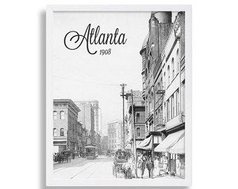 Historic Atlanta Photo Home Decor Photography Print Black and White Art Print Old Photo of Atlanta Georgia Vintage Atlanta Old Atlanta
