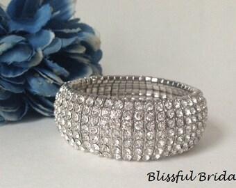 Stretch Crystal Bracelet, Cuff Wedding Bracelet, Bridal Bracelet, Bridal Jewelry, Bracelet For Bride, Wide Rhinestone Bracelet