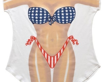 Stars and Stripes Bikini Pool Side Cover-Up T-Shirt - Free Shipping