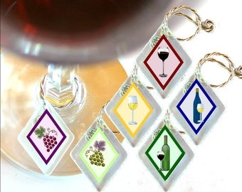"Wine Glass Charms ""Wine Time""  from rescued, repurposed window glass~When you don't want to share, mark your glass!"
