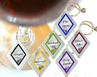 """Wine Glass Charms """"Relationships"""" from rescued, repurposed window glass~When you don't want to share, mark your glass!"""