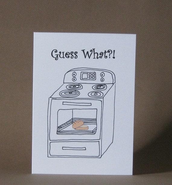 Pregnancy Card Funny Pregnancy Announcement Bun in the – Bun in the Oven Baby Announcement