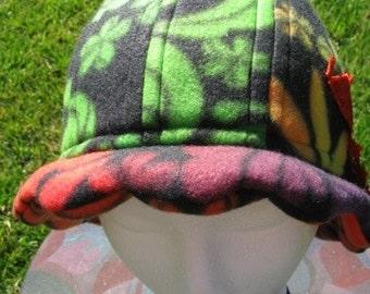 Scalloped Edge Fleece Bucket Hat with Beautiful Orange Lace Butterfly