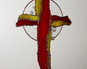 OOAK Stained Glass Cross. Beautiful red and yellow Wispy glass.