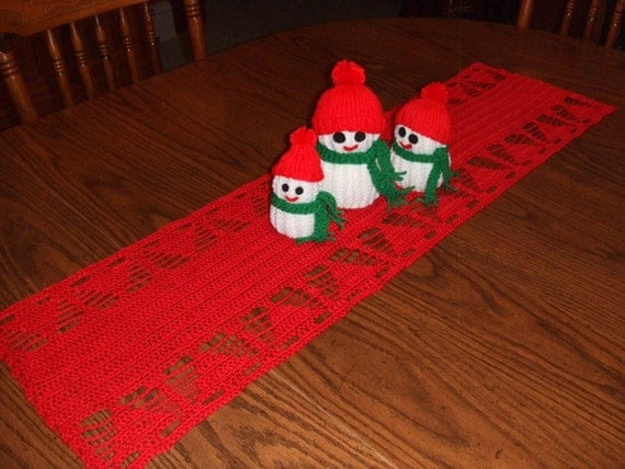Crochet Christmas Tree Table Runner Holiday Decor Unique