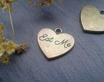 Drink Me Eat Me Heart Antique Bronze tibetan charm pendant Alice in wonderland