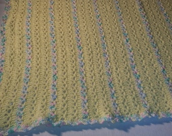 Crocheted V Stitch baby blanket