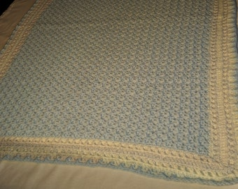 Victorian style crocheted baby blanket for boys