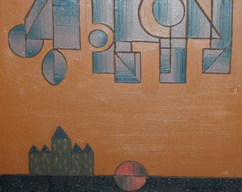 1989 Avant Garde Cubist lLandscape Oil Painting, Signed