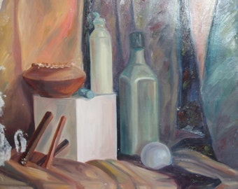 Oil painting still life with bottles and bowl