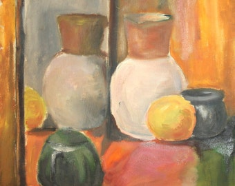 Vintage oil painting still life with vessels