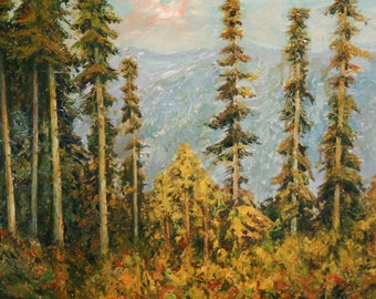 1989 Oil Landscape Impressionist Forest Painting, Signed