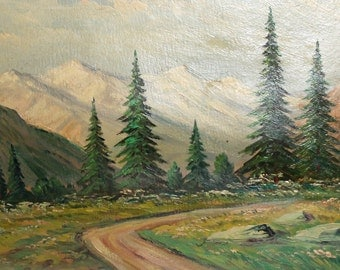 Antique oil painting impressionist mountain forest road