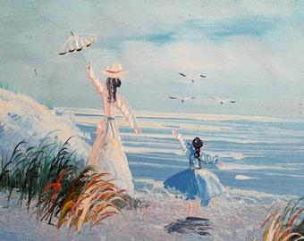 Seascape figures beach landscape oil painting post impressionism