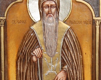 Hand Painted Wood Relief Saint John Rilski Orthodox Icon